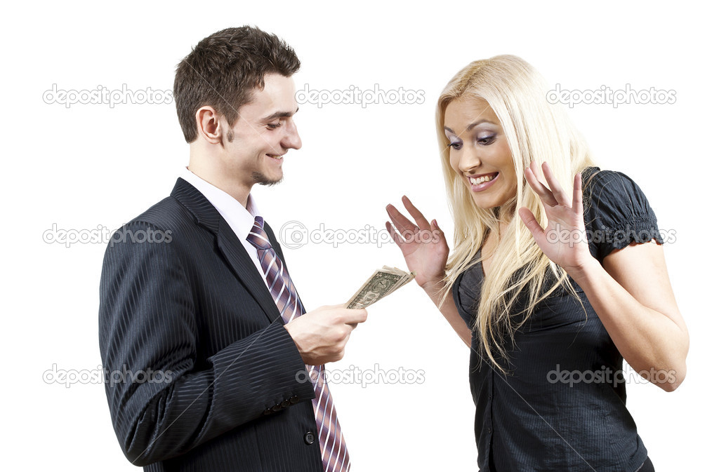The employer gives money to a girl — Stock Photo #10092928