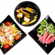 Assorted salad soup and sea fish - Stock Photo