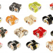Stock Photo: Assorted sushi isolated