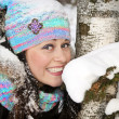 Beautiful happy girl brunette in winter — Stock Photo