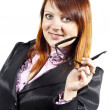 Business woman holding glasses - Stock Photo
