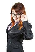 Beautiful girl holding glasses — Stock Photo