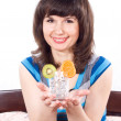Stock Photo: Girl holding glass of water