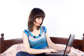 Girl laptop on the Internet — Stock Photo