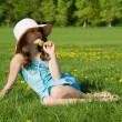 Girl resting in the meadow — Stock Photo