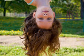 Girl hangs down his head, in nature — Stock Photo