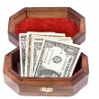 Jewelry box with the money — Stock Photo