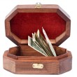 Jewelry box with the money — 图库照片