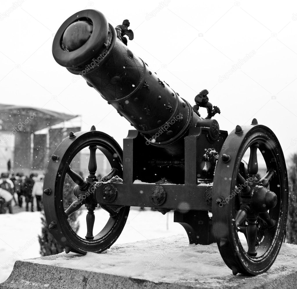 Black canon history weapon on wheels — Stock fotografie #9855047