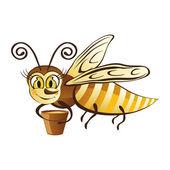 Merry honingbij met een emmer van honing — Stockvector