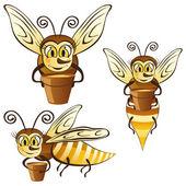 Abejas divertidas con una cuchara de miel — Vector de stock