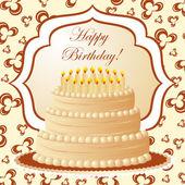Birthday cake, gift card — Stock Vector