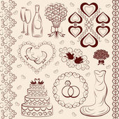 Vector clipart wedding, wedding decorations — Stock Vector