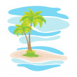 Tropical palm trees on the island — Stock Vector