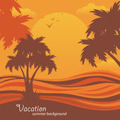 Summer background, vector tropical palms — Stock Vector