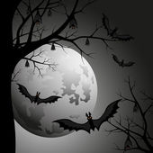 Halloween luna at night — Stock Vector