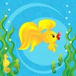 Gold fish and seahorses — Stock Vector