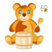 Teddy Bear with honey — Stock Vector