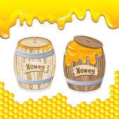 Sweet honey in barrel — Stock Vector