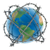 Earth surrounded by barbed — Stock Photo