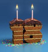 Chocolate birthday cake — Zdjęcie stockowe