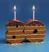 Chocolate birthday cake — Stock Photo