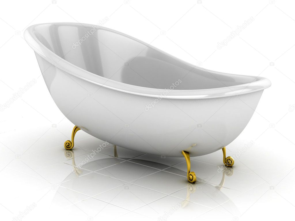 3d illustration of classic bathtub isolated on the white — Stock Photo #9516321