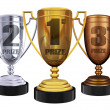 Royalty-Free Stock Photo: Gold silver and bronze trophies