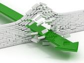 Pilen bryta tegel vägg abstrakt 3d illustration — Stockfoto