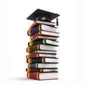 Graduation Cap on Book Stack — Stock Photo