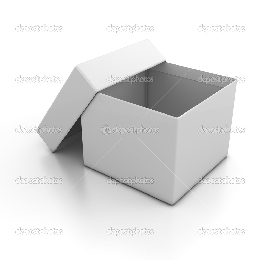 3d illustration of white blank open box isolated over white background  — Stock Photo #9632172