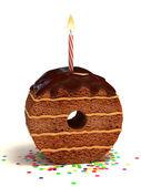 Número zero chocolate em forma de bolo — Foto Stock