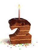 номер два форме шоколад на день рождения торт — Стоковое фото