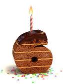 Number six shaped chocolate birthday cake — Stock Photo