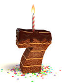 Number seven shaped chocolate birthday cake — Stock Photo