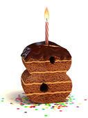 Nummer acht vormige chocolade verjaardagstaart — Stockfoto