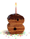 Number eight shaped chocolate birthday cake — Stock Photo