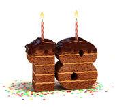 Chocolate birthday cake for a eighteenth birthday — Photo
