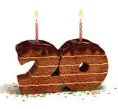 Chocolate birthday cake for a twentieth birthday or anniversary celebration — Stock Photo