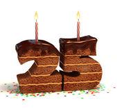 Chocolate birthday cake for a twenty-fifth birthday or anniversary celebration — Foto de Stock