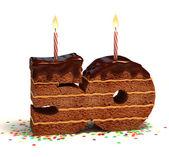 Chocolate birthday cake for a fiftieth birthday or anniversary celebration — Stock Photo