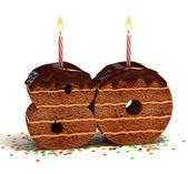 Chocolate birthday cake for a eightieth birthday or anniversary celebration — Stock Photo