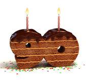 Chocolate birthday cake for a ninetieth birthday or anniversary celebration — Stock Photo