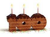 Chocolate birthday cake for a hundredth birthday or anniversary celebration — Stock Photo