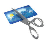 Scissors cutting credit card — Stock Photo
