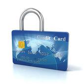 Credit card padlock 3d concept — Stock Photo
