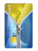 Unzipped credit card 3d concept — Stock Photo