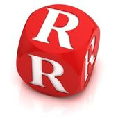 Dice font letter R — Stock Photo
