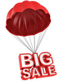 Big sale 3d letters on parachute — Stock Photo