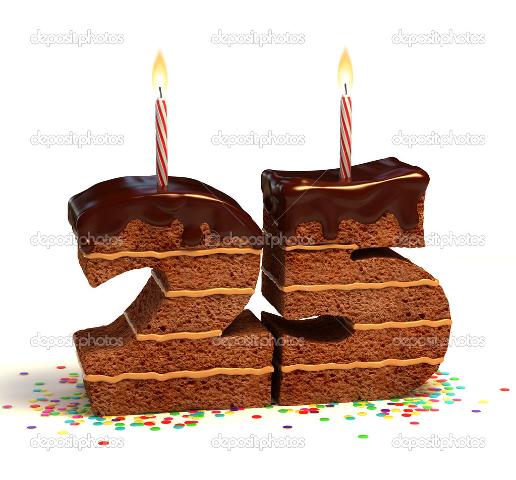 Chocolate birthday cake surrounded by confetti with lit candle for a twenty-fifth birthday or anniversary celebration — Stock Photo #9653881